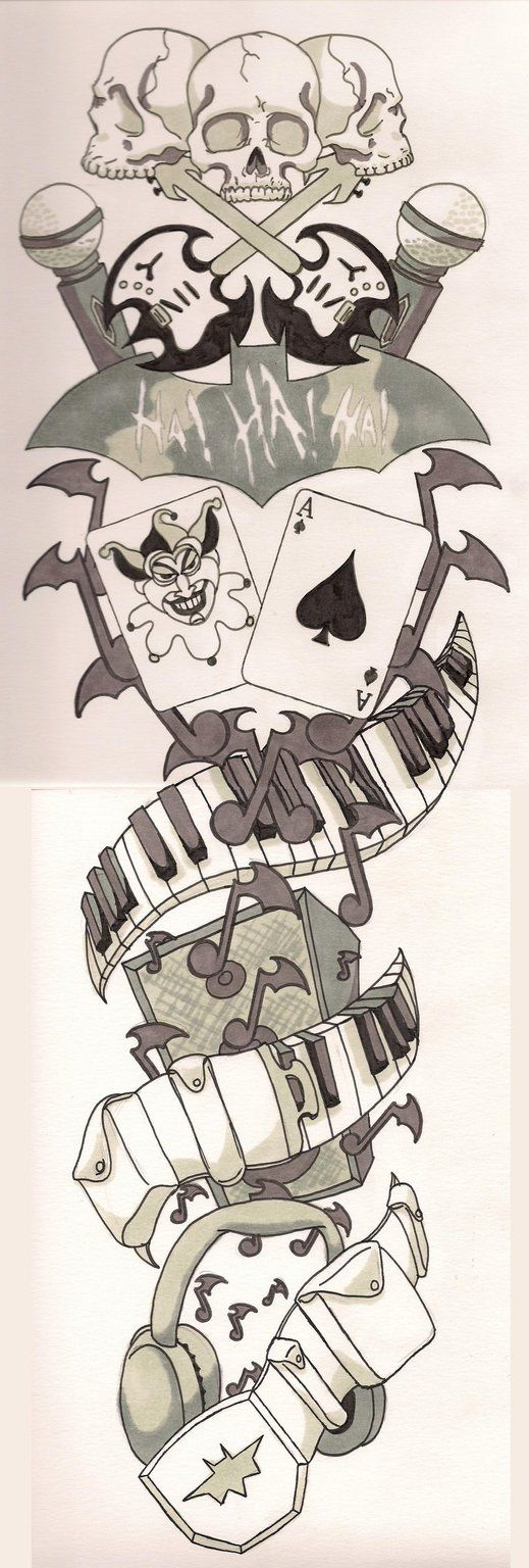 Batman Sleeve Tattoo Sketch Batman Music Sleeve Tattootherealpeterparker On Deviantart