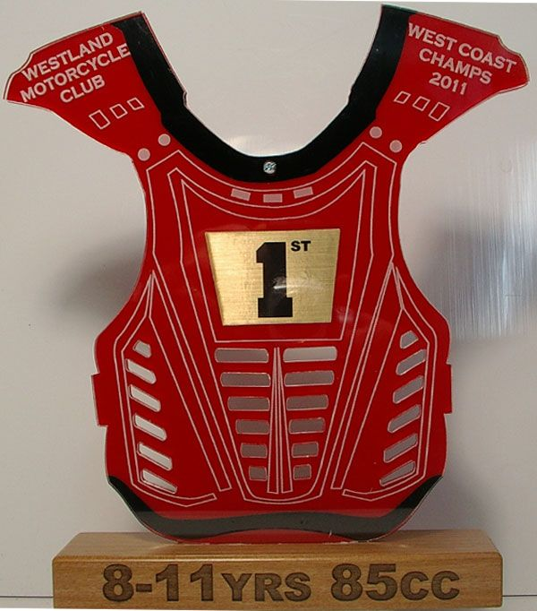 Motocross Body Armour Trophy - Designed and made by us.  These look very cool and make a change from the usual figurine trophies at a great price. Those that have received these trophies- rave about them! Price includes setup and engraving, full colour insert and logos can be accomodated in the design (great for keeping the sponsors happy). Engrave It Taupo