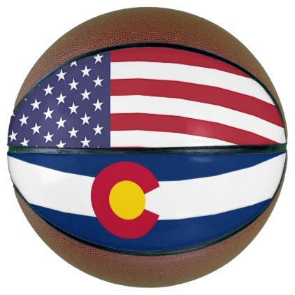 Fullsize Basketball with Flag of Colorado USA - kids kid child gift idea diy personalize design