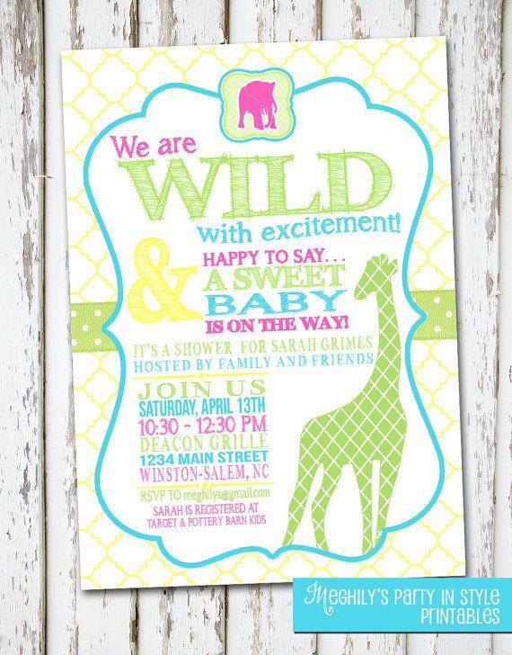 Jungle Or Safari Theme Baby Shower Invitation