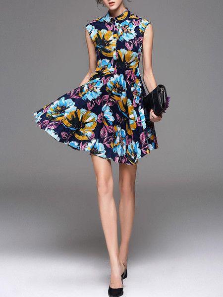 Fashionable Dyed Ramie Mini Dress