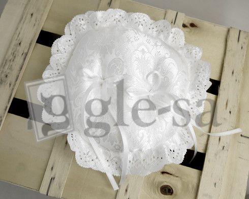 art 21087 cuscino portafedi tondo con tessuto damascato diam.25 - Realizzato a mano http://www.glesa.it/vetrine/cuscini-fedi