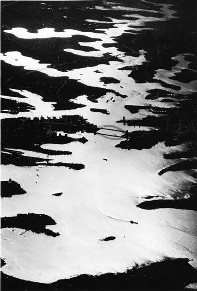 Sydney Harbour from 16,000 feet - 1966.  Photograph by David Moore.