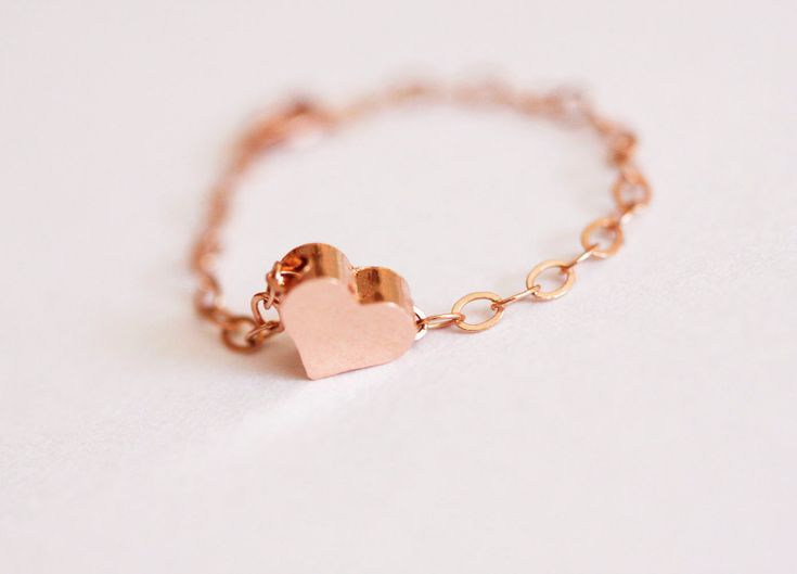 Dainty Heart Ring, Rose Gold Filled Heart ring, Stackable Ring with a Tiny rose Gold Heart, FREE SHIPPING. $19.00, via Etsy.