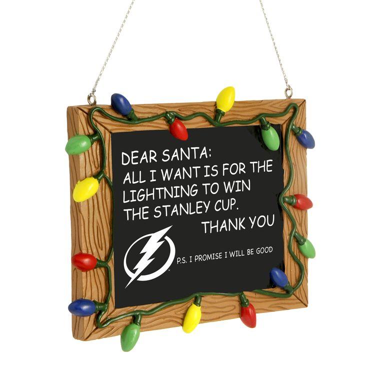 Tampa Bay Lightning Dear Santa Ornament - Tampa Bay Sports