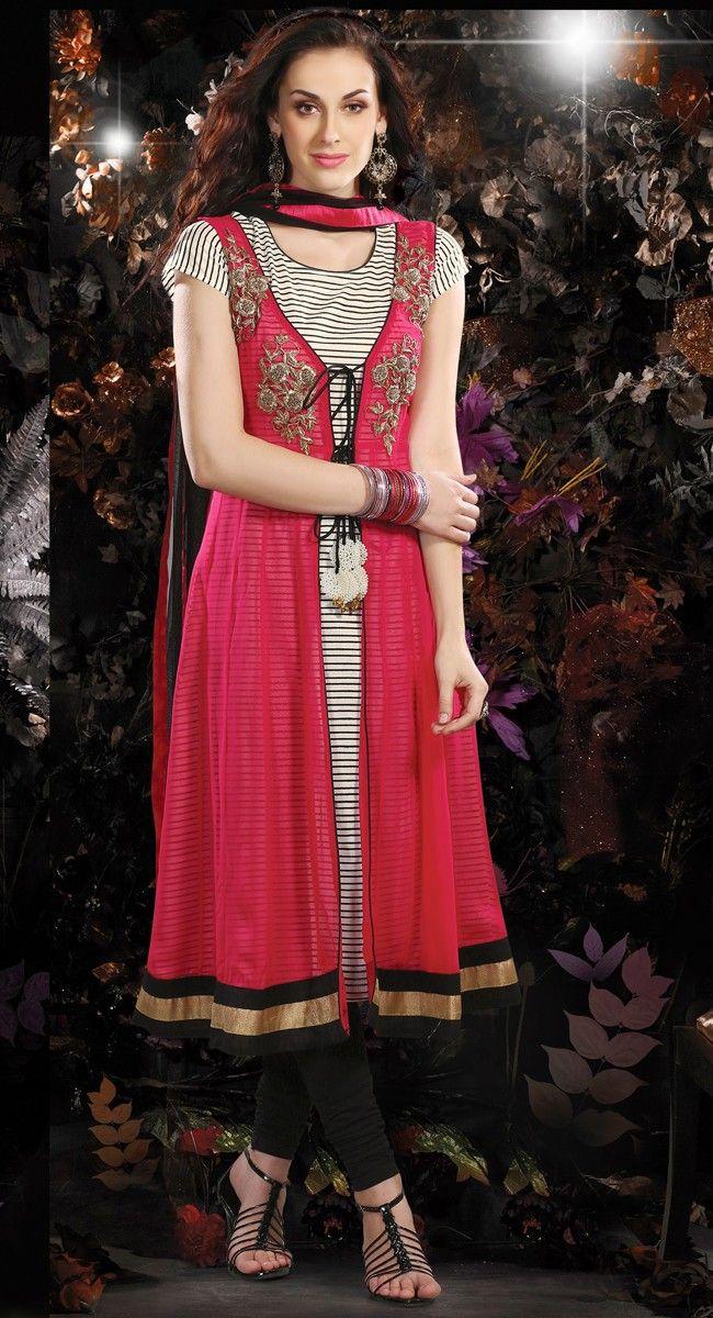 Enigmatic Deep Pink & Off White Salwar Kameez