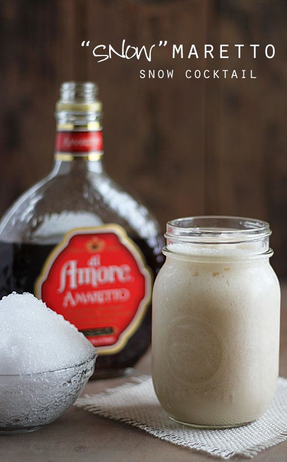 Snowmaretto Cocktail ~ A fun cocktail for when it snows... Amaretto, snow & heavy cream.