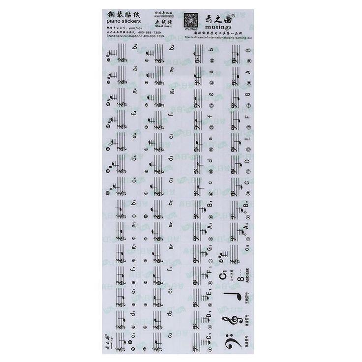 Wholesale-Hot Sale! Transparent Piano Keyboard Sticker 49/61 Key Electronic Keyboard 88 Key Piano Stave Note Sticker for White Keys