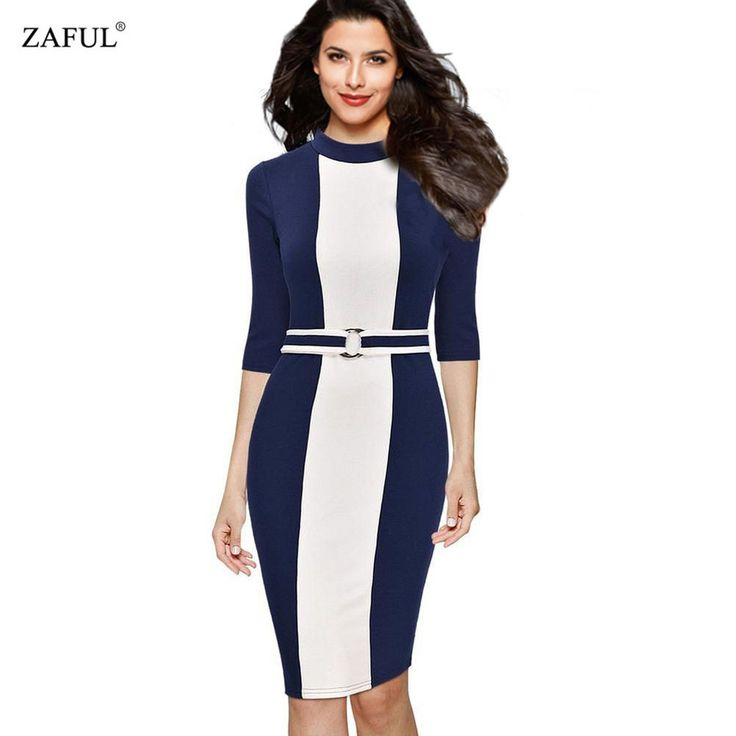 Zaful Formal Women Dress Autumn Elegant 3/4 Sleeve Slim Sheath Belt Business Bodycon Pencil Dress Plus Size Female
