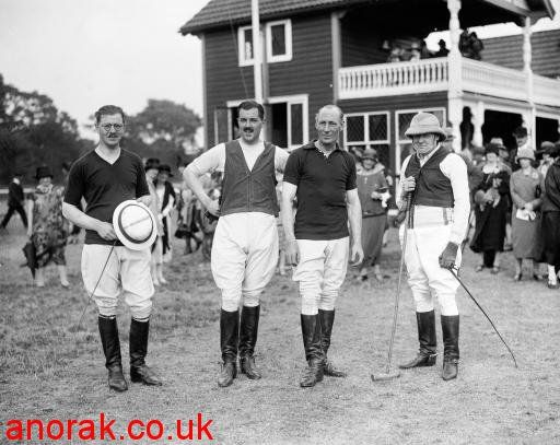 Chancellor of the Exchequer Winston Churchill (r) playing polo for the Commons against the Lords