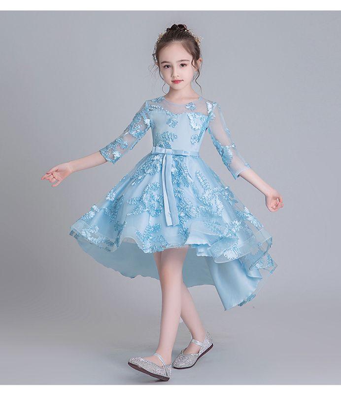 3カラー選択 子供ドレス キッズ ジュニア フォーマル用 ピアノ発表会 子供ワンピース 七分袖 110 160 アシンメトリー elegant 子供ドレス 子供 ワンピース ドレス