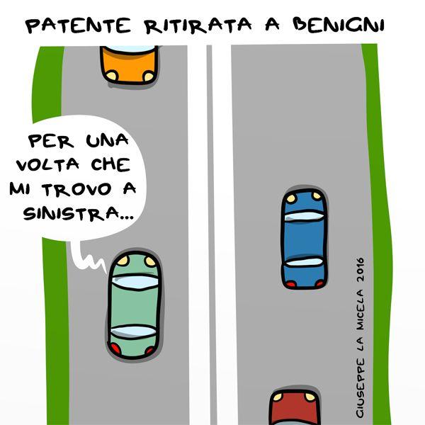 Patente ritirata a Benigni...