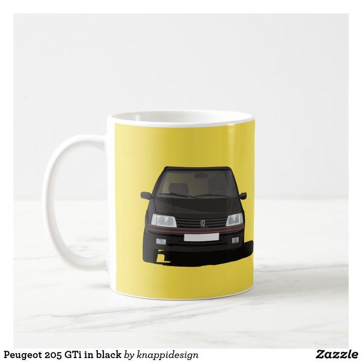 Peugeot 205 GTi in black on a coffee mug. Two image mug.  #peugeot #peugeot205gti #205 #205gti #gti #peugeotgifts #coffeemugs #customizable