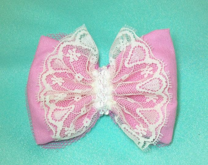 Handmade Pink Bow Hair Clip with Lace - Annie Lane Boutique