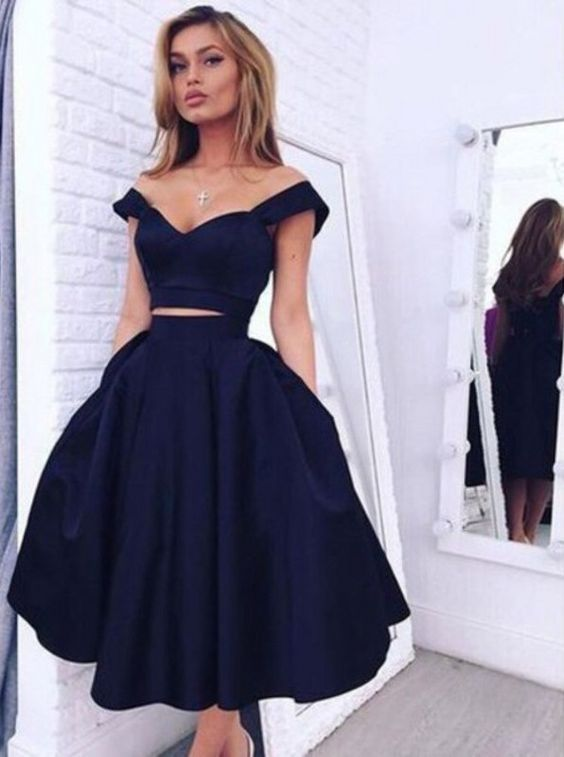 Two Pieces Homecoming Dresses,Off Shoulder Straps Homecoming Gowns,Navy Blue…