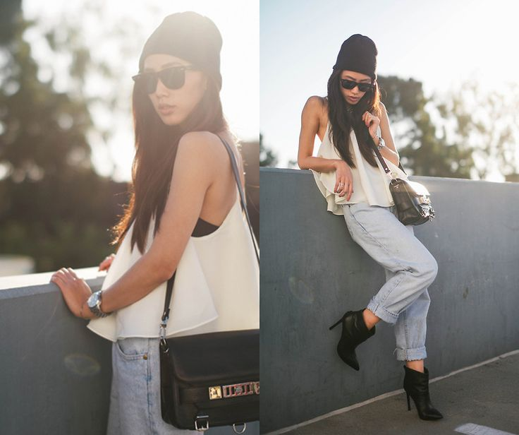 Lovers + Friends Tank, Proenza Schouler this outfit boyfriend jeans and  combat boots look up doc martinz or some other really cute boots.