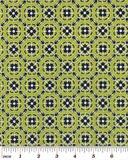 """Geometric Foulard"" Green Navy Fabric by Fat Quarter"
