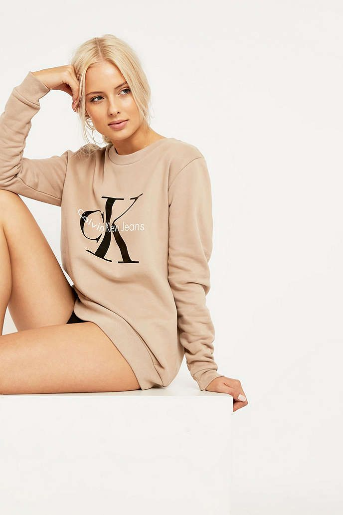 Calvin Klein Jeans Khaki Sweatshirt - Urban Outfitters
