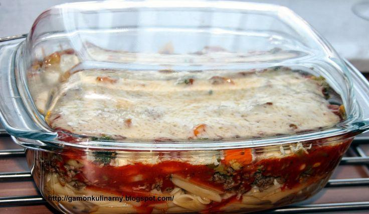 Gamoń Kulinarny: Zapiekanka z makaronem, mięsem mielonym i warzywami