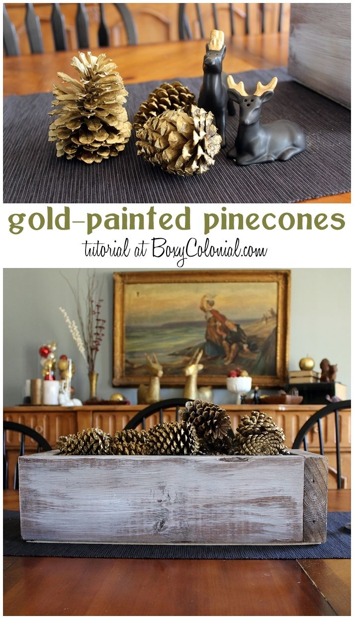 Gold spray painted pine cones