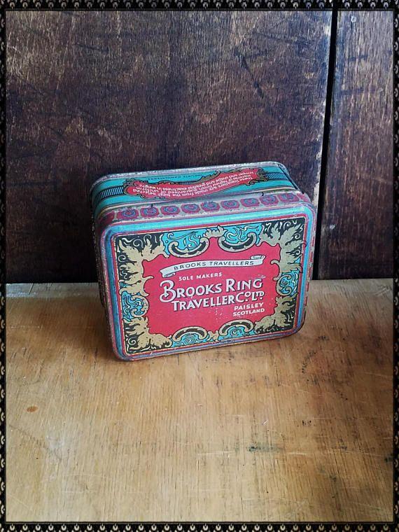 Vintage Brooks Ring Traveller co Ltd tin Paisley Scotland