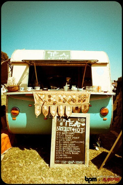 Hippie mobile tea bar - how cute!(i want to have a coffee bar though)