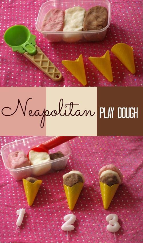 Neapolitan ice cream play dough