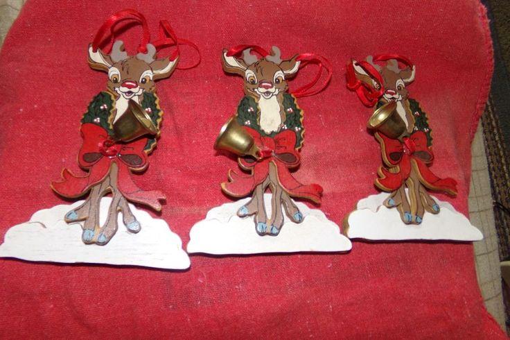 Vintage Lot 3 Kurt S Adler Wooden Christmas Ornament rudolph red nosed reindeer