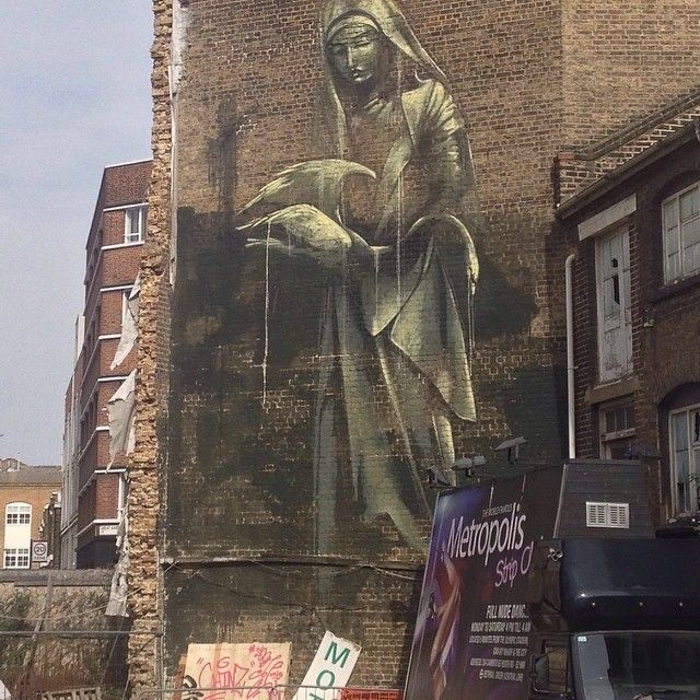 Giant #mural of a Nun with heron, Leonard St #Rone #shoreditch #instagram #graffiti #streetart