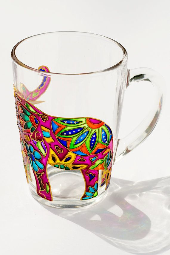 Indian Elephant Elephant MugTrunk Up Hippie Gift by Vitraaze