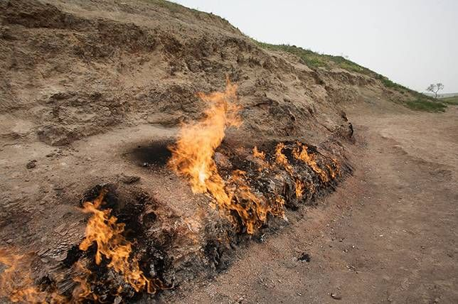 "Yanar Dag (""burning mountain"" in the Azerbaijani language), Baku, Azerbaijan 