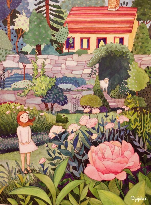 Girl in the garden illustration
