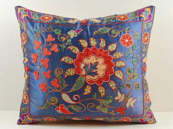 Vintage Hand Embroidered Uzbek Suzani Pillow MSP4_11