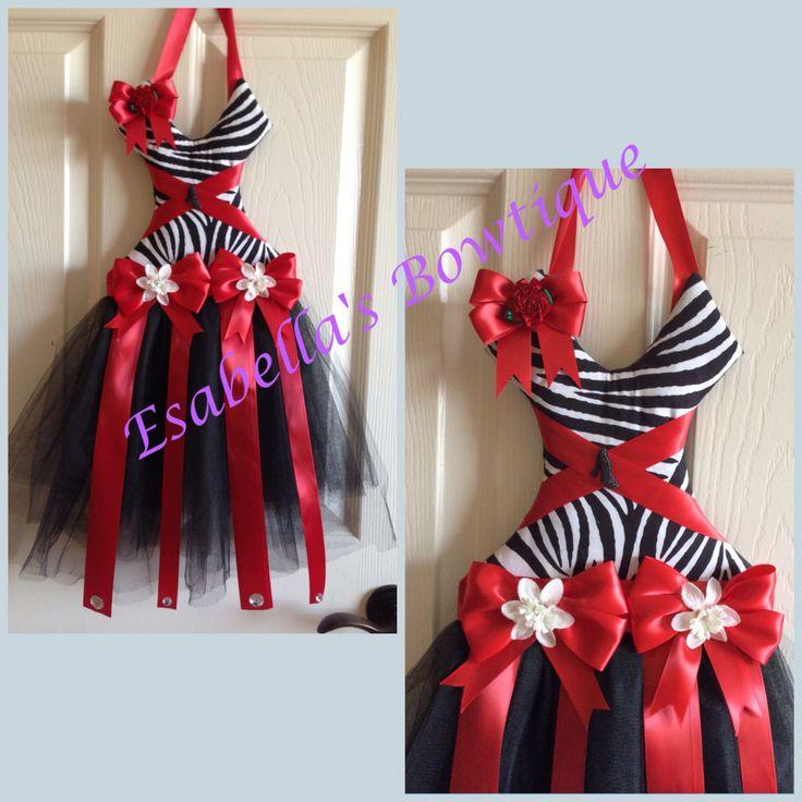 Zebra tutu bow holder by EsabellasBowtique on Etsy