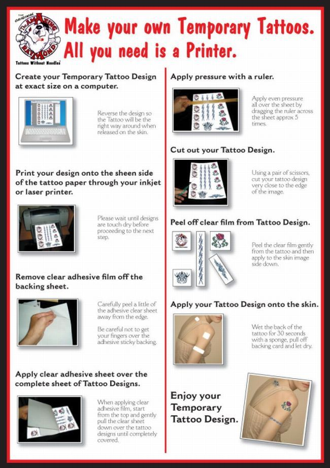 Tattoo Paper to make your own Temporary Tattoo Cards