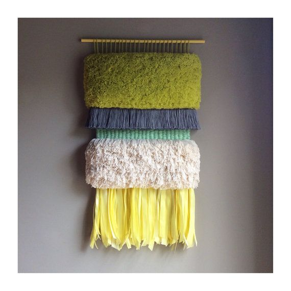 MADE TO ORDER - Woven wall hanging / Furry Pistaccio / Handwoven Tapestry Weaving Fiber Art Textile Wall Art Woven Home Decor Jujujust