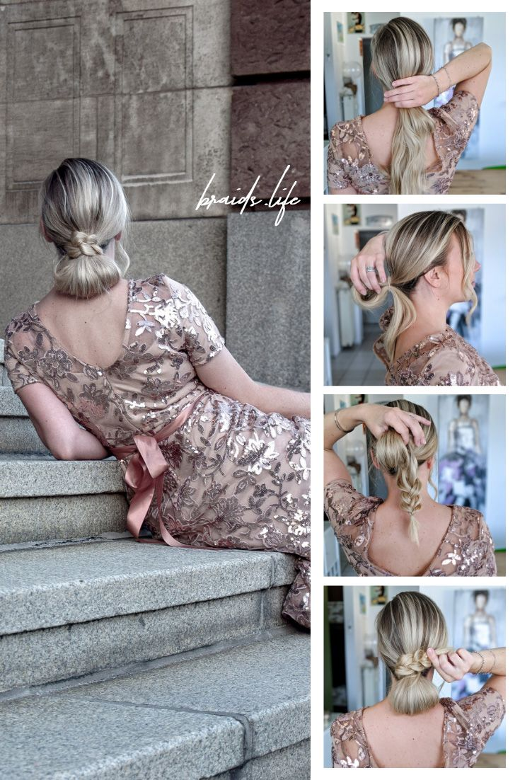 Simple Hairstyles Instructions: Elegant bun hairstyle with braided hair – updo