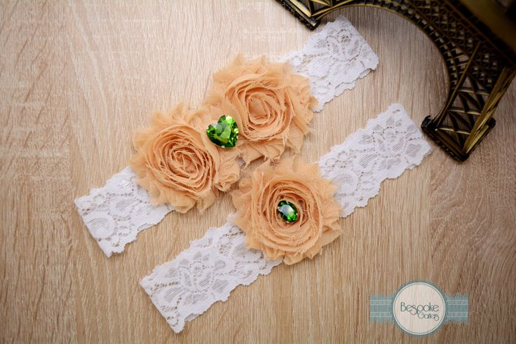 Handmade Lace Wedding Garter, Keepsake Garter & Toss Garter of White Lace Cream Nude Flower and Green Rhinestone by BespokeGarters on Etsy