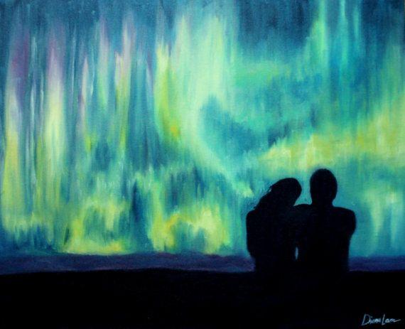 northern lights aurora borealis painting  | Aurora Borealis Northern Lights, Colorful Couple Night Sky Romantic ...