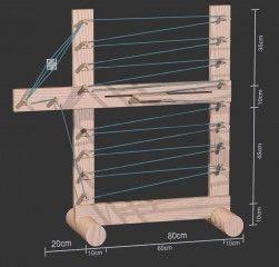 Skizze des Webrahmen zum Brettchenweben