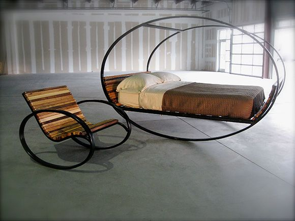 Seriously, looks like the best bed EVER !!Mood Rocking Bed | Design | Gear: Mood Rocks, Idea, Rocks Chairs, Antiques Beds, Bedrooms Sets, Rocks Beds, Outside Rooms, Beds Design, Modern Design