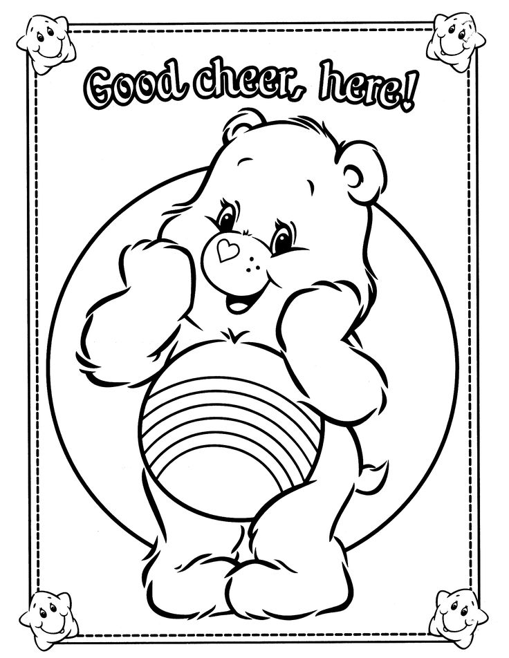 73 Best Care Bear Cheer Bear 4 Images On Pinterest Care Bears - care bear colouring pages to print