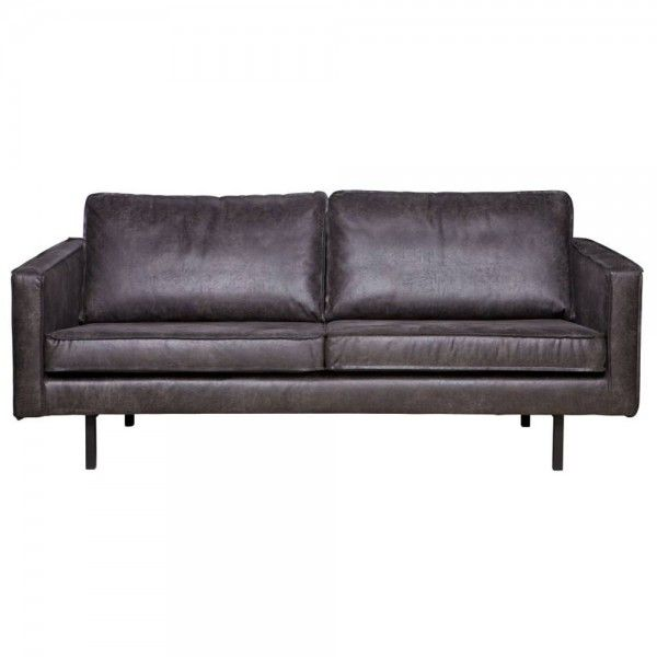 2,5 Sitzer Sofa RODEO Echtleder Leder Lounge Couch Garnitur schwarz
