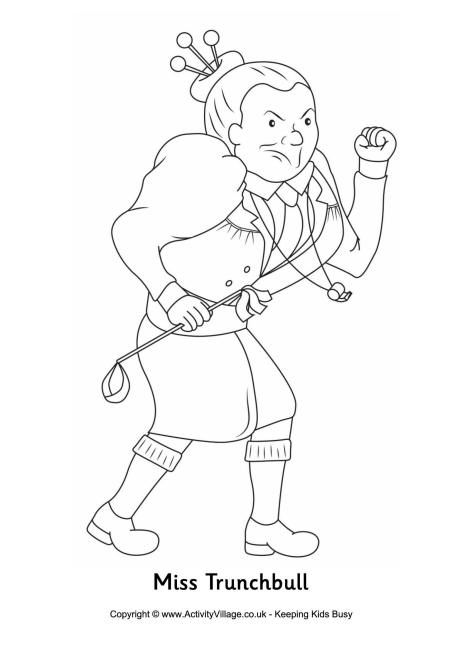 miss trunchbull colouring page - Language Arts Coloring Pages