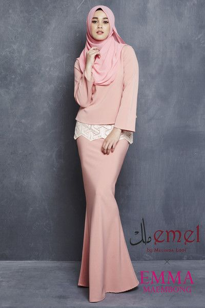 "EMEL X EMMA MAEMBONG - KENANGAN - MODERN KURUNG WITH EMBROIDERED LACE (PINK) We""ve elevated the modern baju kurung and glammed it up with vibrant embroidered lace to create a look that is feminine, classy, ​​elegant and modern!"