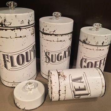 Vintage Kitchen Canisters | 4 Piece Set- Flour, Sugar, Coffee & Tea | Fixer…