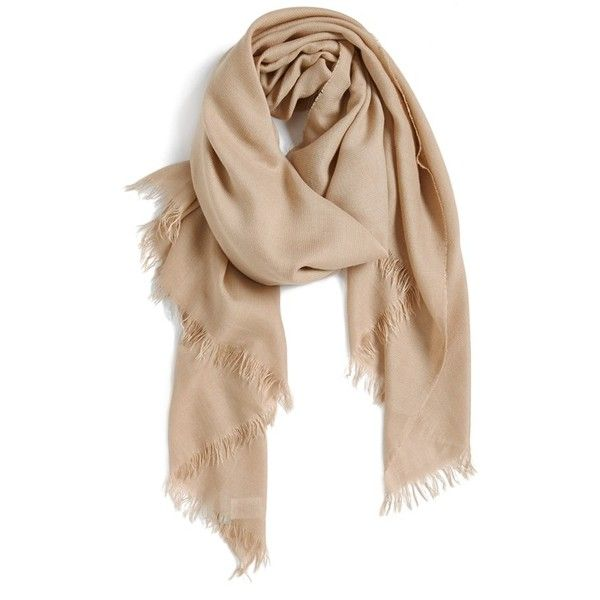 Nordstrom Sheer Border Scarf ($42) ❤ liked on Polyvore featuring accessories, scarves, tan combo, sheer shawl, fringed shawls, nordstrom scarves, fringe scarves and sheer scarves