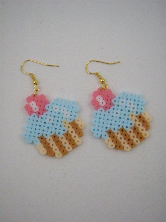Handmade earrings / Hama beads / Perler beads / cup by Yarisada