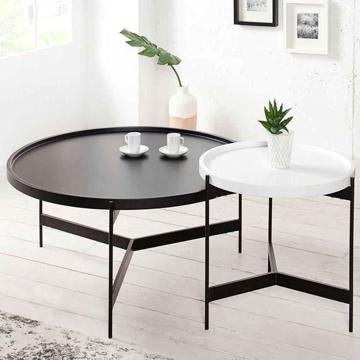 Set LAGOON schwarz weiß matt rund Beistelltisch Tische > 240