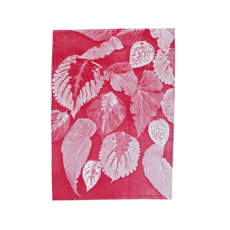 100% linen tea towel hand screen printed with begonia design in pink (TT403).  Dimensions: 50cm x 70cm  Care Instructions: Cold gentle machine or hand wash with gentle laundry liquid, line dry and iron on reverse while slightly damp. Please do not bleach, tumble dry or dry clean.
